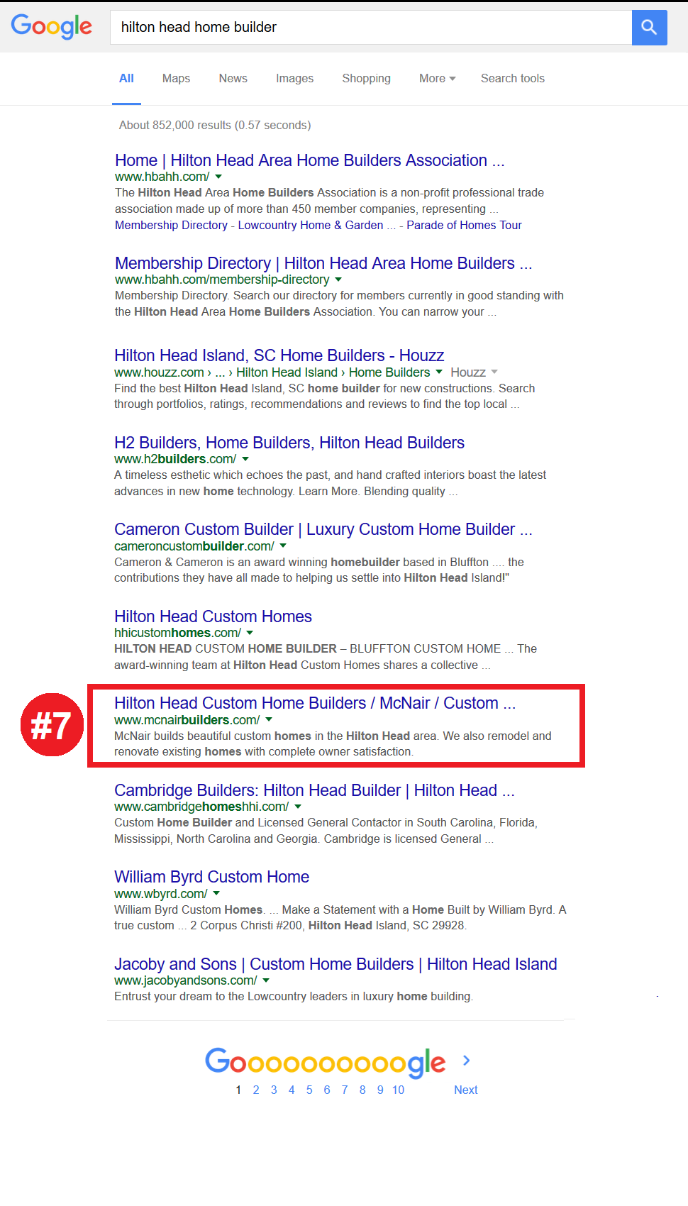 number seven seo ranking